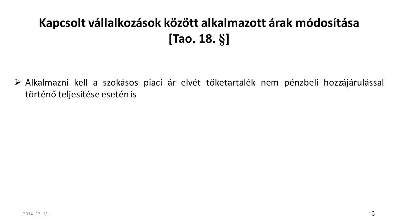 Kapcsolt vállalkozások között alkalmazott árak módosítása [Tao. 18. §]